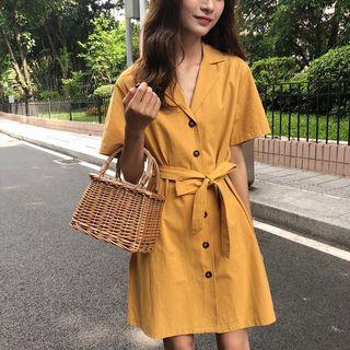 Moon City - 短袖腰结带A字连衣裙