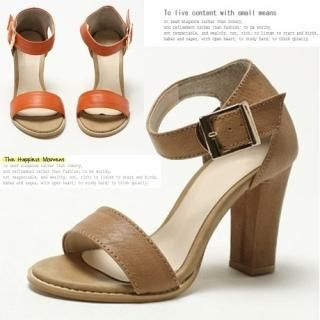 MODELSIS - Genuine Leather Ankle-Strap Sandals
