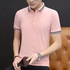 COOLIN - Short-Sleeve Contrast Trim Polo Shirt