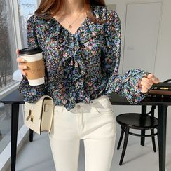 Envy Look - Ruffle-Trim Floral Print Blouse