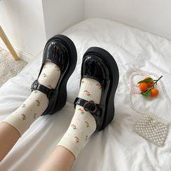 Snowflick - Zapatos de tacón Mary Jane con plataforma y cuña