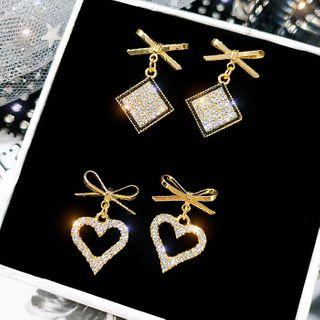 LIVSIA - Alloy  Bow  Rhinestone Square / Heart Dangle Earring