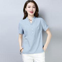 Bohomina - V領條紋短袖襯衫