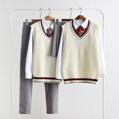 Aiyiruo - Couple Matching Pocket Detail Shirt with Tie / Plain Pants / Pleated Skirt /  V-Neck Striped Knit Vest / Set