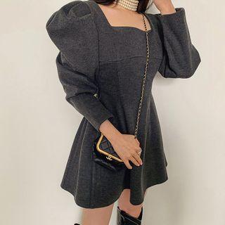 LIPHOP - Square-Neck Puff-Sleeve Mini Flare Dress