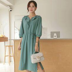 CLICK - 3/4-Sleeve Ruffled Long Dress with Sash