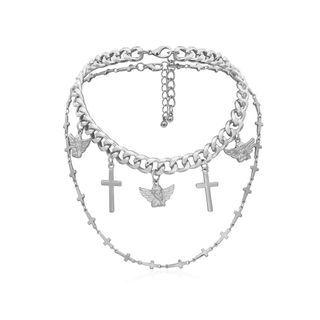 BAST - Set: Alloy Cross & Angel Pendant Choker + Cross Necklace