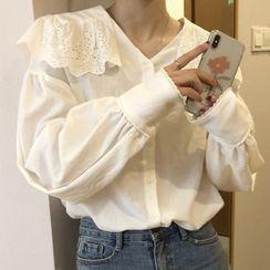 Dute - Lace Collar Lantern-Sleeve Blouse