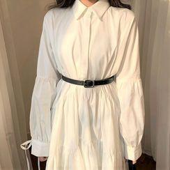 HW Studio - 套裝: 長袖A字襯衫中裙 + 腰帶