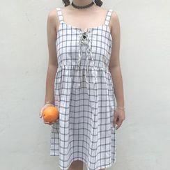 Rocho - Plaid Spaghetti Strap Dress
