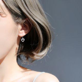 Gaya - 925纯银水钻爱心耳坠