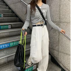 Serendipitous - Long-Sleeved Shirred Drawcord Cropped Top/Wide-Leg Cargo Pants