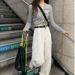Serendipitous - Drawstring Long-Sleeve Top / Wide-Leg Cargo Pants