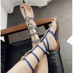 Niuna - 水钻夹趾金属链条水钻女凉鞋