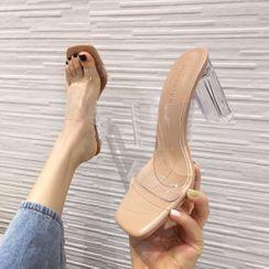 安若 - 透明带粗跟凉鞋