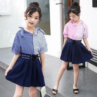 PAM - Kids Set: Short-Sleeve Striped Top + Mini Pleated Skirt