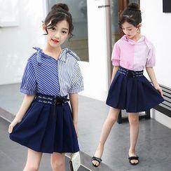PAM - 小童套裝: 短袖條紋上衣 + 迷你打褶襉裙