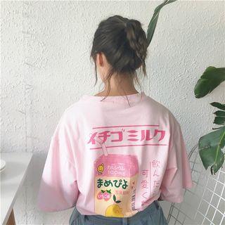 monroll - 印花後中袖T恤