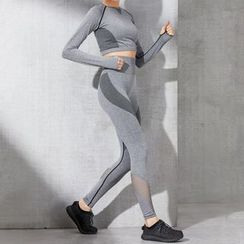 Giselle Shapewear - 套装: 网纱拼接运动短款上衣 + 瑜伽裤