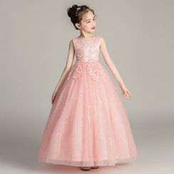 Doveark - Kids Embroidered A-line Party Gown