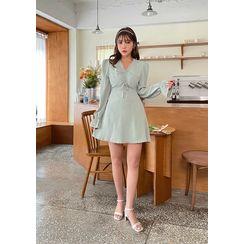 chuu - Ruched Mini Empire Dress