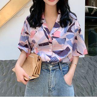 KAKAGA - Short-Sleeve Print Loose-Fit Shirt
