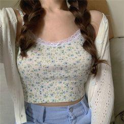 Ginger Girl - 碎花短款吊带背心 / 镂空针织开衫
