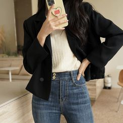 CLICK - Double-Breasted Cropped Blazer