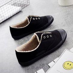 Solejoy - Fleece-Lined Grommet Slip-On Sneakers