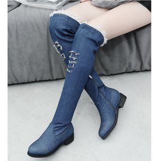 Freesia - Distressed Denim Chunky-Heel Over-The-Knee Boots