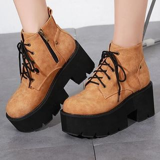 Anran - Faux Leather Platform Ankle Boots