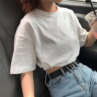 Lashark - Elbow-Sleeve Cropped Drawstring T-Shirt