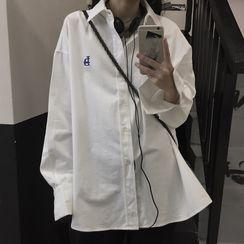 Ashlee - Oversized Long-Sleeve Embroidered Lettering Shirt