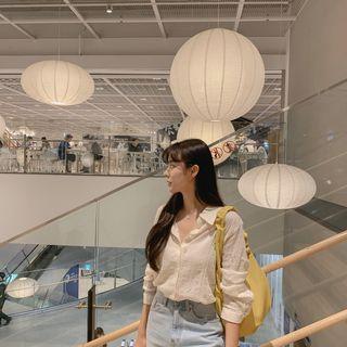 CHERRYKOKO - Flower Embroidery Cotton Shirt