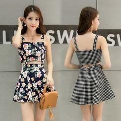 Manicotto - Mock Two-Piece Sleeveless Mini Dress