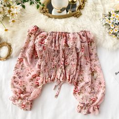 Lucuna - Long-Sleeve Floral Pattern Smocked Cropped Top