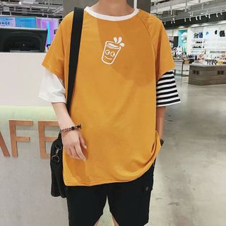 Acrius(アクリウス) - Print Elbow-Sleeve Mock Two-Piece T-Shirt