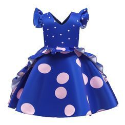 Junon - Kids Dotted Sleeveless Party Dress