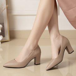 Asterisk - Plain Pointy-Toe Chunky Heel Pumps
