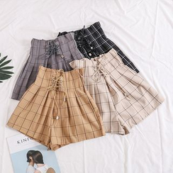 Lemongrass - Lace-Up Plaid A-Line Shorts