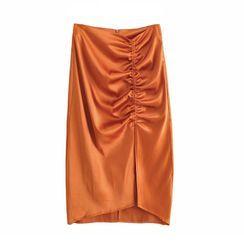 Indesi - Ruched Satin Midi Skirt