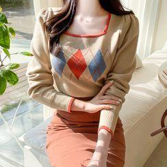 MyFiona - Square-Neck Argyle Knit Crop Top