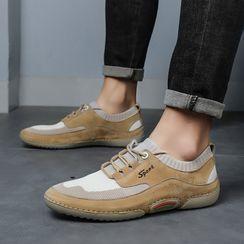 Mobik - Mesh Panel Lace-Up Shoes