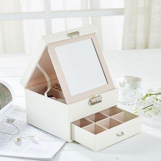 Jewelim - Faux Leather Desktop Mirror with Storage Box