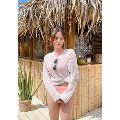 chuu - Beach Coverup Net-Knit Top