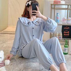 Dreamdazz - Maternity Pajama Set: Bow Ruffle Trim Shirt + Pants