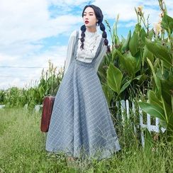 Glaypio - Mock Two Piece Long-Sleeve Maxi Dress
