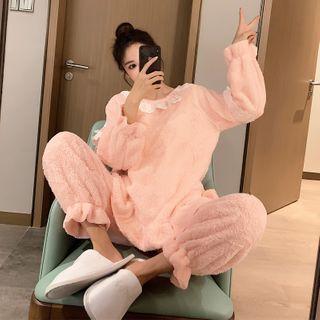 Endormi - Pajama Set: Long-Sleeve Lace Trim Fleece Top + Pants