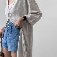 MERONGSHOP - Wide-Sleeve Linen Blend Long Cardigan