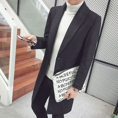 Bay Go Mall(ベイゴーモール) - Single-Breasted Melange Coat